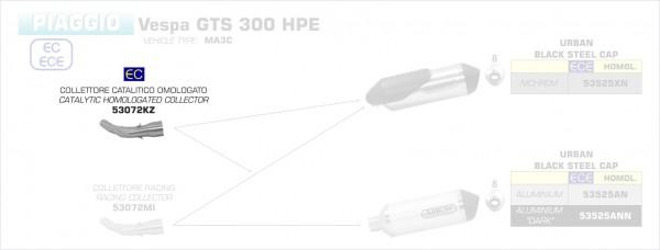 Arrow Verbindungsrohr mit Kat VESPA GTS 300 '17-18/GTS 300 HPE '19-20