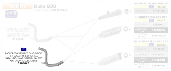 Arrow Verbindungsrohr mit Kat KTM DUKE 200 11-14