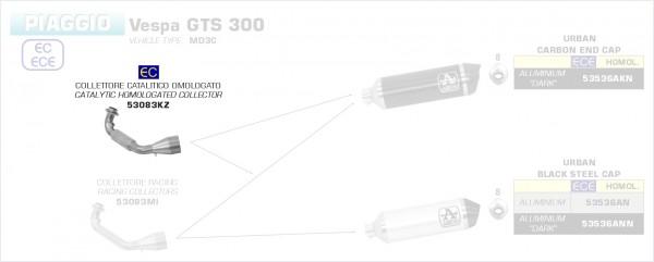 53083KZ-Arrow Krümmer mit Kat Piaggio Vespa GTS 300 HPE 21-